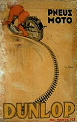 1920's Dunlop Motorcycle Tires Advertising Poster by Geo Ham