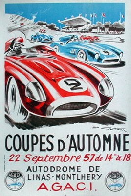 1957 Coupe d Automne Montlhery-Linas Poster by Geo Ham